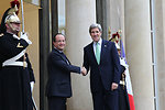 Secretary Kerry Is Greeted By President Hollande