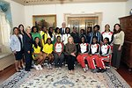 Secretary Clinton and ESPN President Skipper With Athletes From the Caribbean