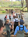 Macon County students entering the creek