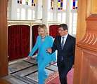 Secretary Clinton and Turkish Foreign Minister Davutoglu Walk to a Press Conference