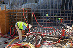 Preparations for concrete placement at the Folsom auxiliary spillway