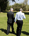Special Envoy Mitchell Walks With Israeli Prime Minister Netanyahu
