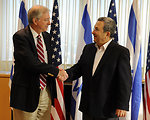 Special Assistant to the President Ross Shakes Hands With Israeli Defense Minister Barak