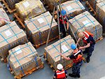 Sailors Secure a Pallet of Medical Supplies