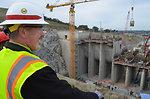 Greg Crannell vice principal of Folsom High School views Folsom Dam auxiliary spillway construction