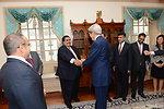 Secretary Kerry Shakes Hands With Bahraini Foreign Minister Sheikh Khalid bin Ahmed al-Khalifa