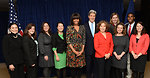 Secretary Kerry, First Lady Obama, Mrs. Heinz Kerry with participants from the first Department of State Tweetup