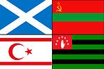 Čeština:  Vlajky čtyřech separatistických a potencionálně separatistických regionů, Severního Kypru, Skotska, Podněsteří a Abcházie Flags of four separatist and potentially separatist regions: Northern Cyprus, Scotland, Transnistria, and Abk
