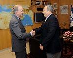 Special Envoy Mitchell Shakes Hands With Israeli FM Ehud Barak