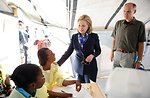 Secretary Clinton Speaks With Staff at a USAID Cholera Treatment Center