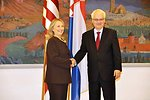 Secretary Clinton Shakes Hands With Croatian President Josipovic