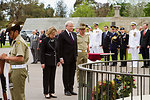 Secretary Clinton and Australian Foreign Minister Rudd Take Part in a Wreath Laying Ceremony