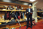 Secretary Kerry Reviews Boston College Remarks in Hockey Locker Room