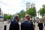 Secretaries Kerry, Hague Pass Westminster Abbey During Walk in London