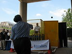 Director of Public Affairs Dan Leistikow being dunked by Sec. Chu