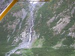 Float plane sightseeing along the Richardson Highway. One of hundreds of waterfalls in Alaska.