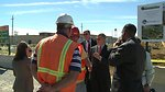Deputy Secretary Daniel Poneman visits with workers at the X-701B Groundwater Plume Source Removal Project.