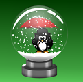 Snow Globe -Penguin with Umbrella