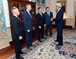 Secretary Kerry Chats With Departing U.S. Air Force Fellows