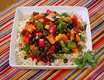 This appealing dish called, Papaya Black Beans and