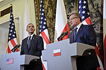 President Obama and Polish President Komorowski Address Reporters in Warsaw
