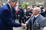 Secretary Kerry Greets French Veteran During Visit to Brittany Town For Commemorative Ceremony