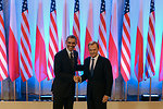President Obama Shakes Hands With Polish Prime Minister Tusk