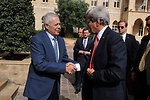 Secretary Kerry Is Greeted by Ambassador Demesquieh at the Prime Minister's Office