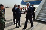 Secretary Kerry is Greeted by Ambassador Hale Upon Arrival to Beirut