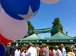 Red White and Blue Balloons at the Farmers Market