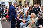 Secretary Kerry Greets Embassy London Staff
