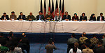 Military and officials from IEC attend a press conference at the end of voting day in Kabul.