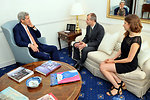 Secretary Kerry Listens to Wounded Foreign Service Officer Lodinsky Upon Reunion in London