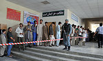 Voters queuing up in front of a polling center in Kabul.