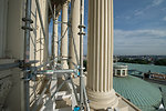 Capitol Dome Restoration - Scaffolding Work on Peristyle Mid-June 2014