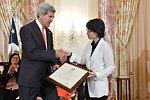 Secretary Kerry With TIP Hero Myeong-jin Ko of South Korea