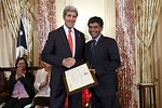 Secretary Kerry With TIP Hero Tek Narayan Kunwar of Nepal