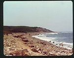 The cobble beach and cliffs on the Atlantic side of Block Island.