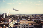 This 1976 photograph shows an airplane as it flies