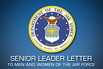 Senior leader letter to men and women of the Air Force