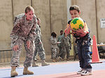 Iraqi children come out to play at Joint Base Balad