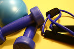 This image depicts a still life composed of exerci