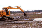 Here a hydraulic powered bucket shovel was in the