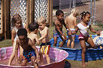 This early 1990s photograph shows children playing