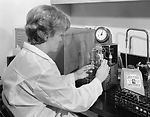 This historic 1966 image depicted a laboratory tec