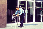 This 1990 image depicted a man who was using walke