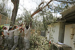 Airmen clean up after typhoon