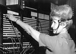 This historic 1974 photograph depicts a CDC teleph