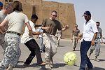 Americans, Iraqis interact at historical monument