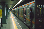 Tokyo subway platform and train.